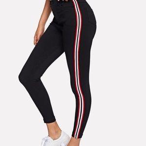 Zara Trafaluc Blk Sidestripe Denim Jeans sz 6